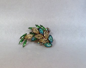 Yellow and Green Vintage Brooch