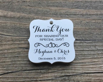 """20 Personalized Wedding Tags, 1.75"""", Favor Tags, Thank You Tags, Gift Tags - Weddings, Showers, Engagement"""