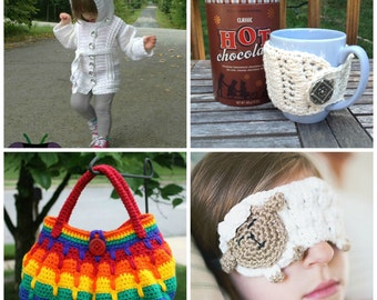 16 PATTERNS Sampler eBook - PDF crochet patterns - purse, eye mask, sweater, fingerless gloves, boot cuffs, basket, dress, hat