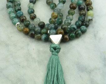 Sandhi Mala - Crysocolla Wrist Wrap Mala Beads- Buddhist Prayer Beads, 108 Mala Beads - Harmony, communication, goddess energies
