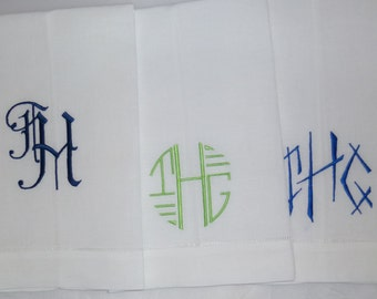 Made To Order CUSTOM 22x14 Monogrammed or Embroidered Hemstitched 22x14 Hand Towel. White linen.