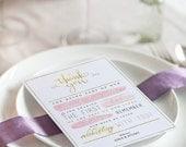 Wedding Thank You Card - Printable Gold Foil/Watercolour Wedding Card
