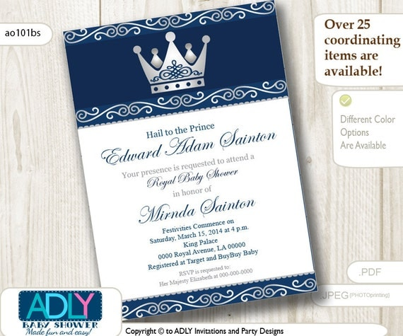 Silver Blue Little Prince Royal Baby Shower Invitation, Prince DIY Party  Invitation For Boy, King Baby Shower,dark Blue, Navy Gray  Ao101bs
