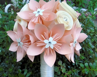 Peach and Cream Origami & Spiral Bouquet - Bridal Bouquet - Alternative Wedding Flowers
