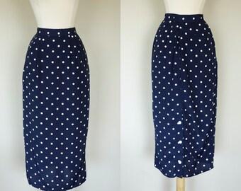 1980s polka dot pencil skirt, rayon navy blue high waist skirt, XS, US 4