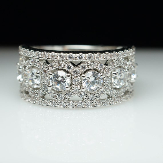 Wide Band Anniversary Band 14k White Gold Natural Diamond