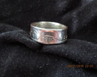 COIN RING made from a 1910 Barber Sliver Half Dollar, 90% silver, 106 Years old, A New unsized Mens Coin Ring Made in USA
