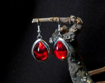 Silver and red gothic earrings