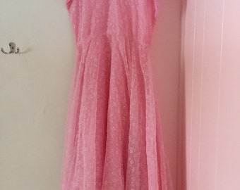 70s handmade pink floral midi dress