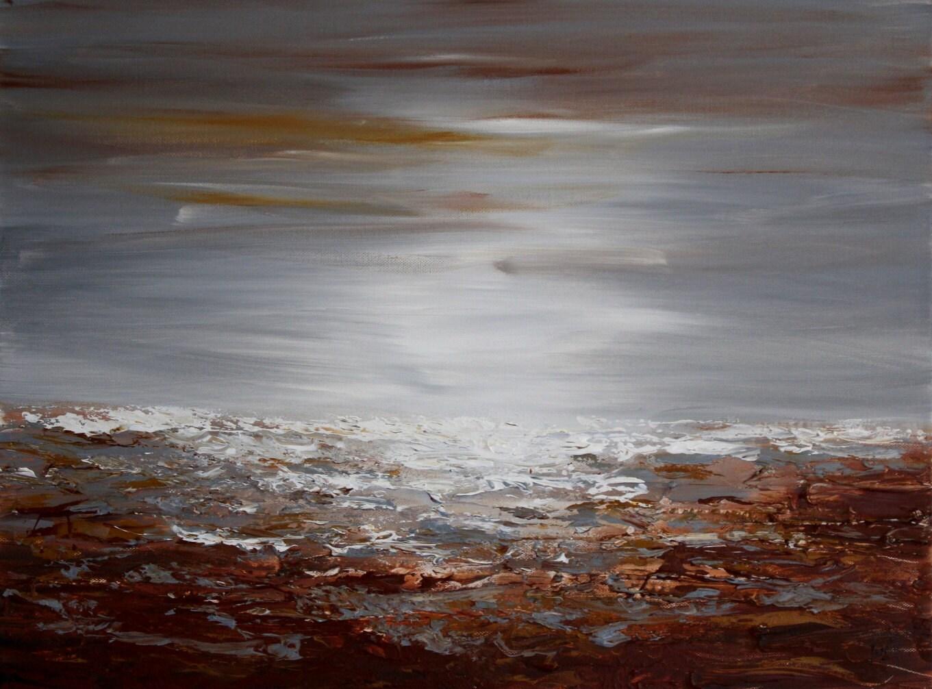 Peinture marron et gris art moderne art contemporain marron - Peinture contemporaine au couteau ...