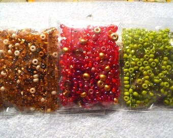 3 Packs Assorted Seed Beads Bead Soup LOT #2 Color Coordinated Caramel/Red/Apple Green Bead Embroidery