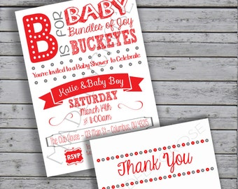 Printable Baby Shower Invitation and Thank You, OSU Baby Shower, Ohio State Baby Shower