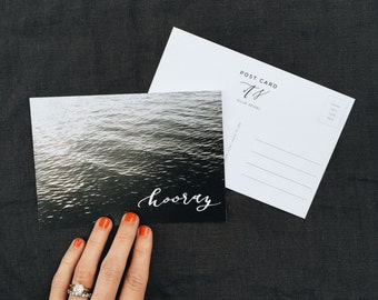 Calligraphy Post Card | Hooray on Lake | Pack of 5 | 100% Recycled