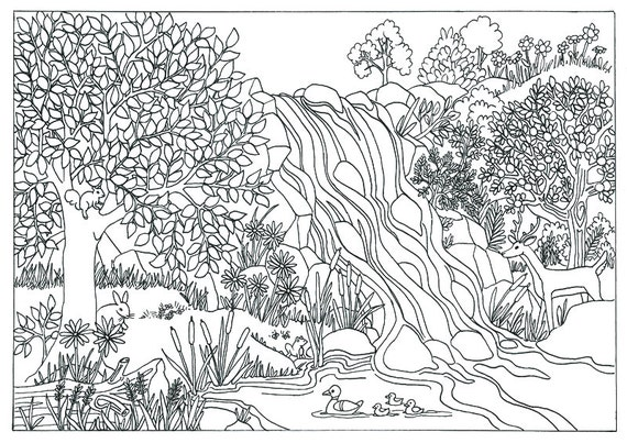 beautiful nature coloring pages - items similar to printable waterfall nature scene coloring