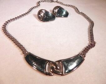 Vintage Bib Necklace & Pierced Earrings Set Silver Tone Metal Blue/Green Settings