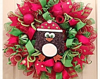 Christmas Penguin Deco Mesh Wreath/Penguin Wreath/Christmas Wreath/Lime and Red Penguin Wreath