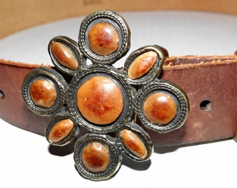 Vintage 70's Leather Belt with Flower Power Stones Silver Buckle  Size 33