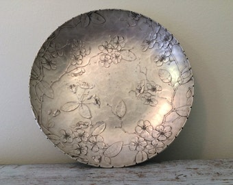Vintage Wendell August Forge Hand Hammered Aluminum Decorative Bowl with Apple Blossoms and Branches