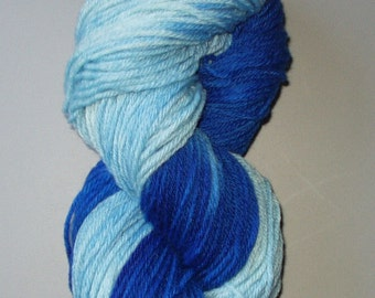 Wool Yarn  Superwash Merino Worsted Weight Hand Dyed ,  Multi Colored  Variegated  Royal Blue Light Blue