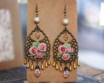 floral earrings, dangle earrings,chandelier earrings , bronze, polymer clay handmade