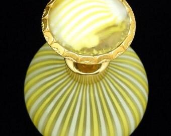 Yellow White Striped DeVilbiss Art Glass Vintage Perfume Bottle Italy
