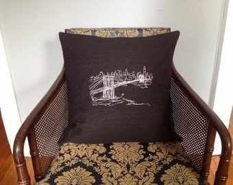 Brooklyn bridge embroidered pillow