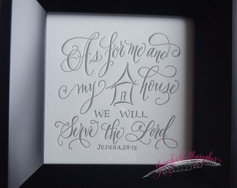 Calligraphy Scripture Letterpress Print - Me & My House