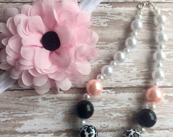 Pink pearl cow chunky necklace and large flower/glitter button headband.rts. Fast shipping! Baby, toddler, little girl
