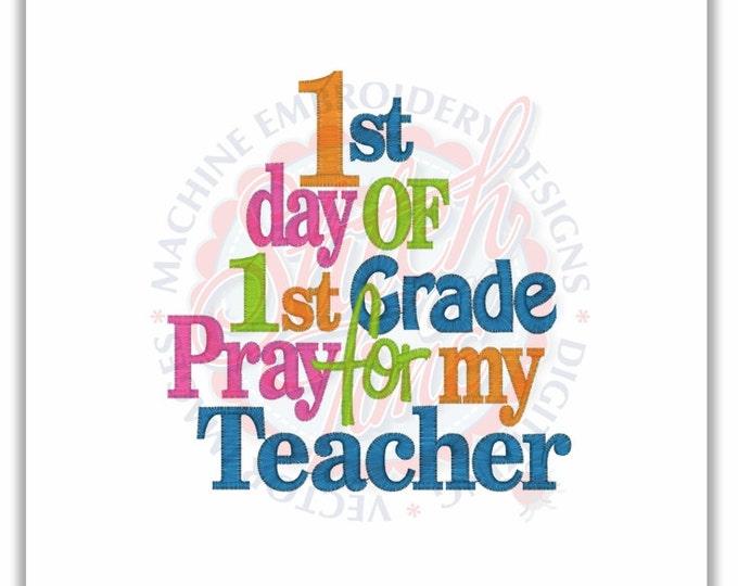 1st Day of First Grade Embroidered Girls Shirt - First Day of Preschool  - Back to School - Pray for my Teacher - Pre-K Kindergarten 1st 2nd