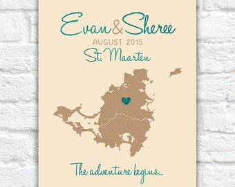 Destination Wedding Map, St. Maarten, Saint Martin, Caribbean Map of Island, Travel Map, Travel Quote, Adventure, Honeymoon, Anniversary