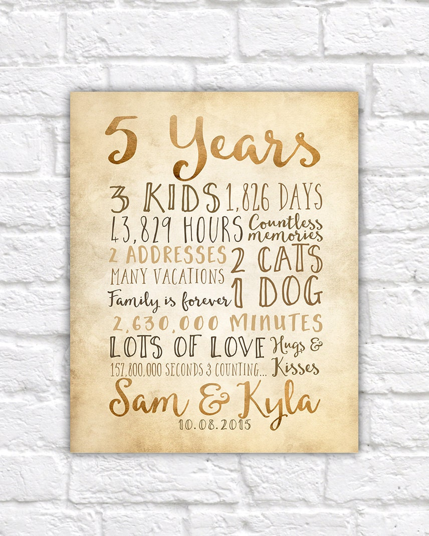 Wedding Anniversary Gifts Year: 5 Year Anniversary Gift 5th Year Of Marriage Or Dating