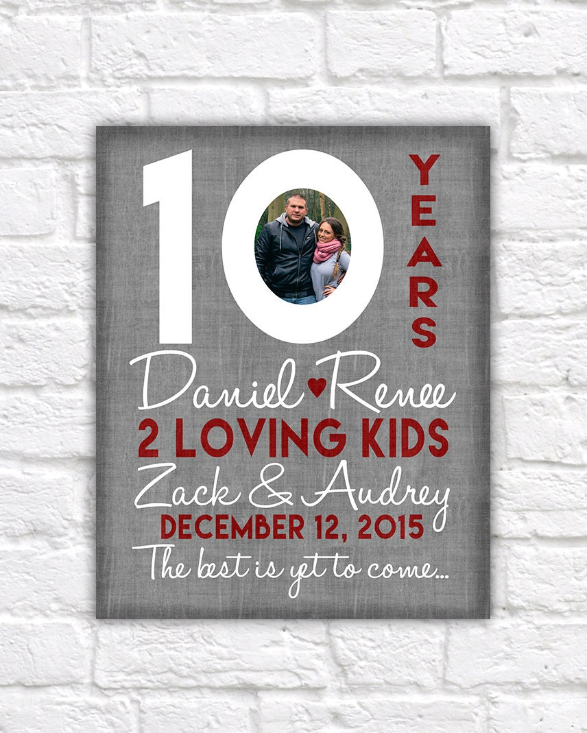 10th Wedding Anniversary Gift 10 Year Anniversaries Customized Gift With Photo Kid Name