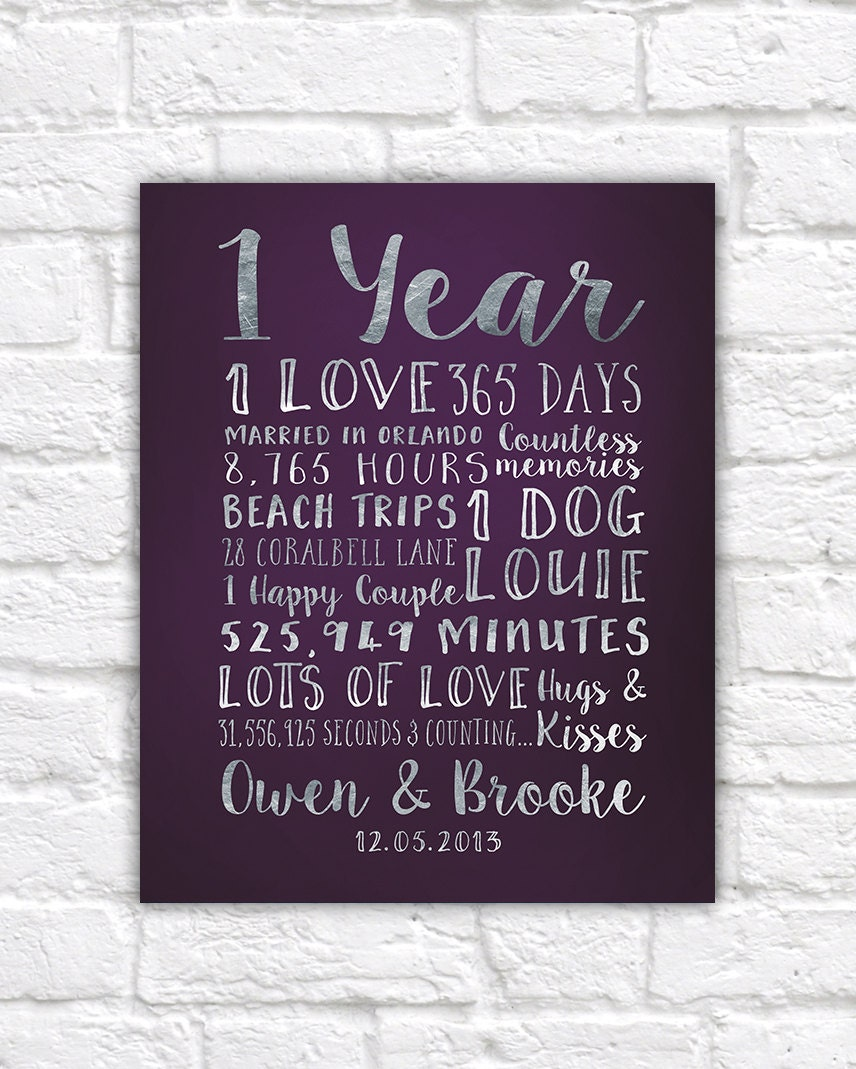 One Year Wedding Anniversary Gifts: First Anniversary Paper Gift, Traditional Anniversary Gift