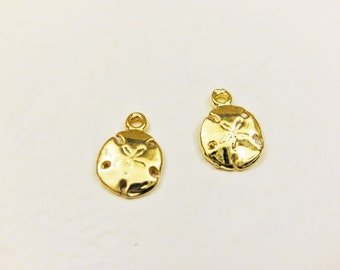 2 PC. Vermeil, small 18k gold over 925 sterling silver sand dollar charm, sand dollar,vermeil sand dollar, gold sand dollar