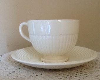 Vintage Wedgewood Antique White Ribbed  Eturia & Barlaston  Edme England Tea Cup and Saucer
