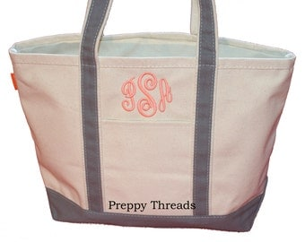 Monogrammed Tote Bag Canvas Boat Tote 10 Colors 2 Sizes