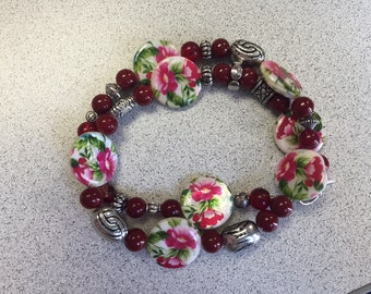 Red and green Floral  bracelet.