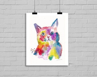 Rainbow Cat Portrait Watcolor Painting Print Watercolor Painting Print Watercolour Art