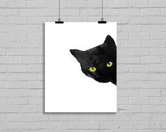 Peeking Sneaky Black Cat with Golden Yellow Eyes Sneaky Cat Print Watercolor Cat Art Black Cat Painting Watercolour Wall Art Watercolor