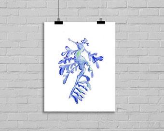 Blue Leafy Sea Dragon Seahorse Print Beach Decor Watercolour Art Giclee Print Watercolor Painting Print Watercolour