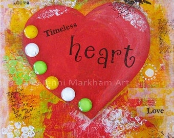 Timeless Heart ~ Mixed Media Collage, Mixed Media Original Art