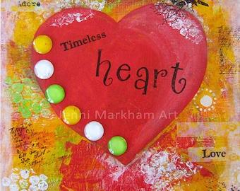Timeless Heart ~ Mixed Media Collage, Mixed Media Original Art