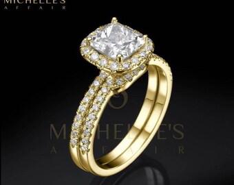 Women Diamond Rings Set 18K Yellow Gold 2.75 Carat D VS1 Cushion Cut Engagement Ring And Half Eternity Wedding Band