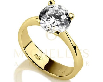 Engagement Ring Round Cut Diamond 0.75 Carat F VVS1 Solitaire Ring 18K Yellow Gold For Women