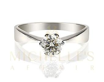 Diamond Engagement Ring 18K White Gold Women Round Cut F VVS2 Certified 0.7 Carat Diamond Ring