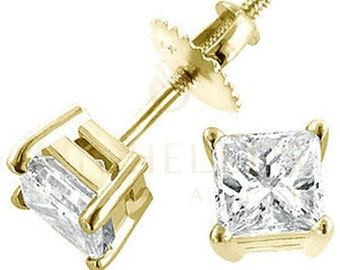 Solitaire Diamond Stud Earrings 2.4 ct F VS2 Princess Cut 14K Yellow Gold Screw Back Settings For Women