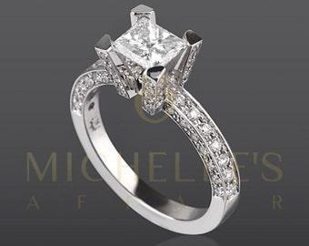 Women Princess Cut Diamond Ring 14 Karat White Gold Setting Certified D SI1 1.70 Carat Diamond Engagement Ring For Her