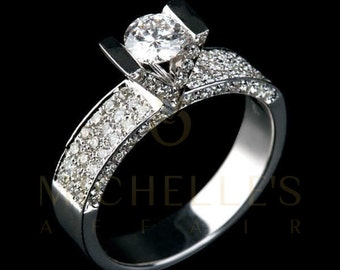 Engagement Ring With Accents 2.00 ct Round Cut Diamond Certified D SI2 Ladies White Gold Ring 18K Setting
