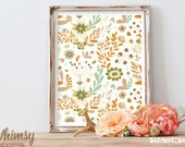 CLEARANCE Sale!! WHIMSY Cream Floral Pattern Art Print