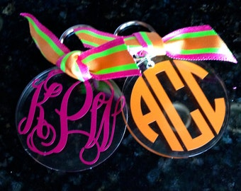 Personalized  Acrylic Key Chain/  3 initial, single initial monogram. Choose vine or circle monogram